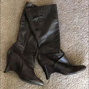 Tall Leather Diba Wedge Boots